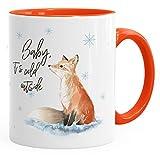 Tasse Weihnachten Baby it`s cold outside Spruch Fuchs Winter Schnee Fox Weihnachtsbecher Weihnachtstasse Autiga® orange unisize