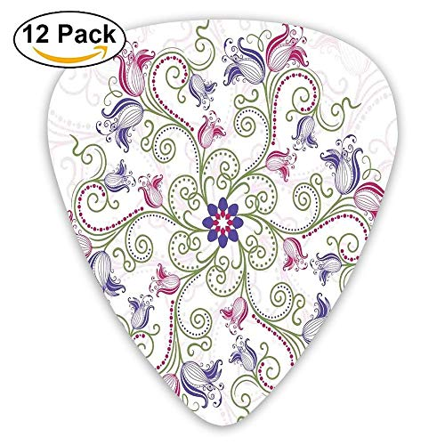 Round Flower Frame Design Classical Vintage Floral Art With Ottoman Tulips Decorative Guitar Picks 12/Pack Set