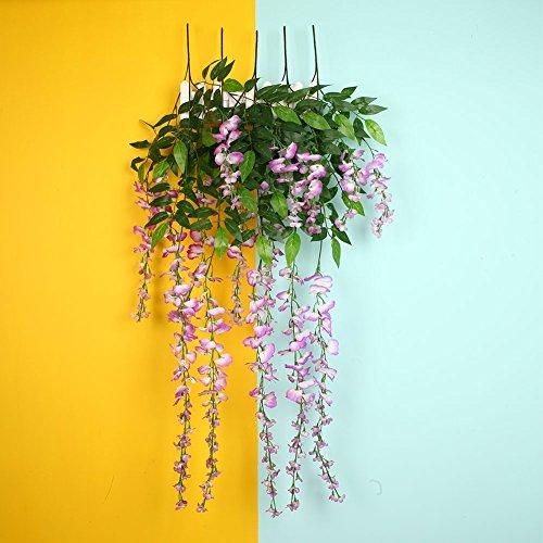e Blumen 2ft Seide Wisteria Ivy Reben Grünes Blatt Hänge Reben Garland für Hochzeit Hausgarten Wanddekoration (Spiegel Für Mittelstücke)
