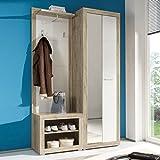 Kompaktgarderobe Garderobe Can Can 2 Set Flurmöbel in Eiche San Remo