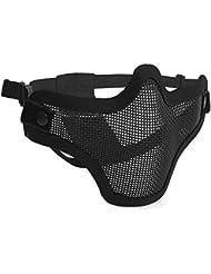 antwalking transpirable mitad máscara táctica de malla de acero boca protectora cara Saver para al aire libre campo CS Airsoft, Negro