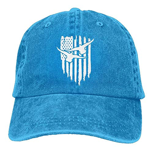 Ingpopol Men Women Adjustable Denim Fabric Baseball Cap American Flag Duck Hunter Dad Hat -