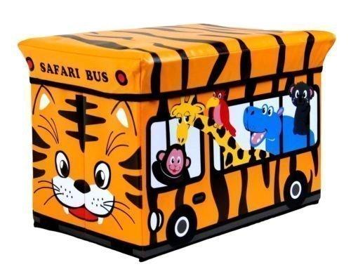 Kinder-Hocker, Spielzeug, Bücher und Kleidung Box Chest (Orange Safari-Bus)