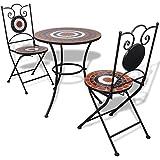vidaXL Set mesa mosaico 60 cm y 2 sillas, color terracota y blanco