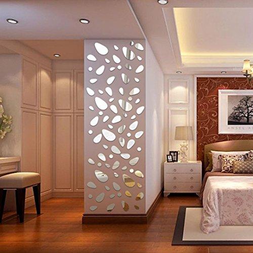 Diamant Malerei Clode® 12 Stücke 3D Spiegel Vinyl Abnehmbare Wandaufkleber Aufkleber Home Decor Art DIY (Silber)
