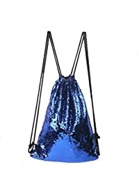 Glitter Sequins Backpack Drawstring Backpack Sackpack Outdoor Shoulder Bag For Travel Shopping Sport (Blue Silver...