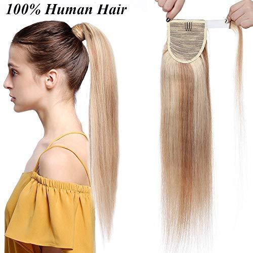 Ponytail Clip in Pferdeschwanz Echthaar Extension Hair Piece Haarteil Haarverlängerung Remy Human Honigblond/Hellblond #18p613 16