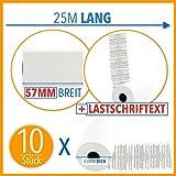 10 x EC Cash Thermorollen mit Lastschrifttext | B: 57mm – DM: 40mm - Kern DM: 12mm – L: 25m für Ingenico ict220 ict250 iwl250 und alle anderen EC-Cash-Thermodrucker