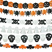 Halloween Garland, KissDate 6Pcs Paper Chain Pumpkin Bat Ghost Spider Skull Shape OH Hanging Bunting Banner for Halloween Party Decoration Prop Event Supplies
