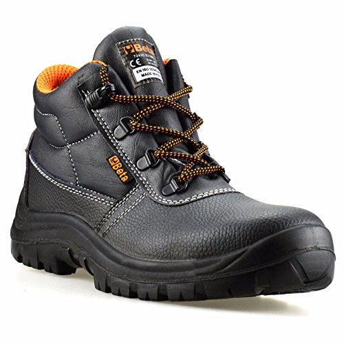 Mens Leather Waterproof Safety Steel Toe Cap Work Ankle Hiker Boots Shoes Size[UK 9,Black]