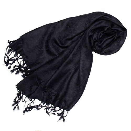 Lorenzo Cana Designer Damenschal schwarz Pashmina hochwertiger Markenschal jacquard gewebtes Paisley Muster 60 cm x 200 cm Viskose Schaltuch Schal Tuch 93083