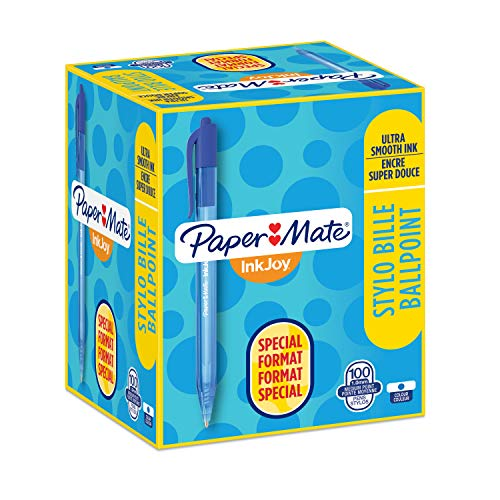 Paper Mate InkJoy - Retractable ballpoint pen, medium tip of 1 mm, 100 package, blue color