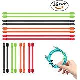 "8x 12""+ 8x 6"" reutilizable Twist Ties, aplaygo goma Gear lazos 16piezas (diameter-5mm, 6pulgadas y 12pulgadas) negro, rojo, naranja, verde"