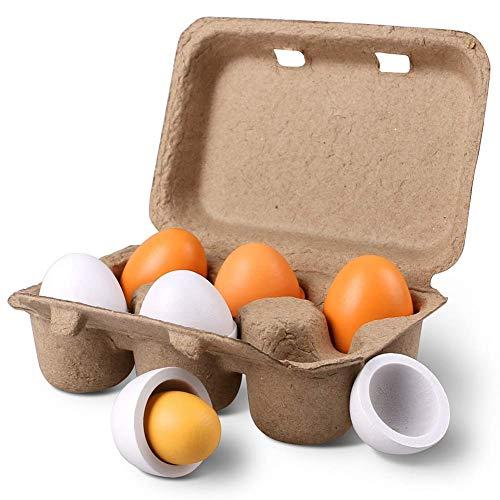 Stillcool uova di pasqua 6pcs i tuorli di legno di uova di pasqua pretende che i bambini giocano giocattolo dei capretti dell'alimento della cucina del gioco (6 pezzi)