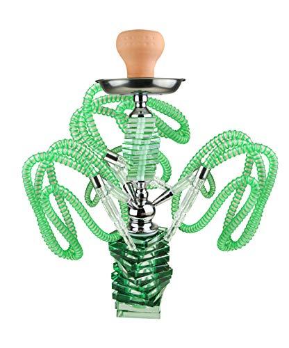Bayli Design - Juego de Shisha de Cristal, 43 cm de Altura, 3 Tubos orientales, Pipa de Agua con Pinzas...