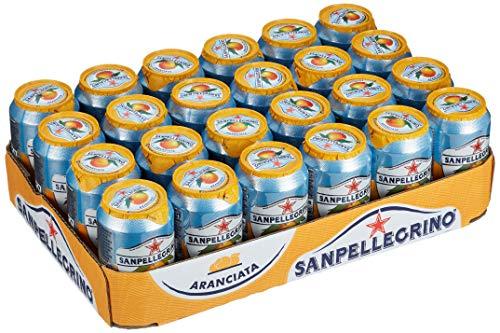 San Pellegrino Aranciata, Orangen Limonade, Hoher Fruchtanteil, 20% frisch gepresste Orangen, Leicht herbe Geschmacksnote, Ohne künstliche Farbstoffe, 24er Pack, EINWEG (24 x 0,33l)