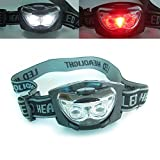 3 LED White + Red Headlight Hands Free Headlamp Head Torch Camping Hunting Lamp