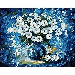 Sin marco Cuadro De Pared Pintura Por Números Lienzo Pintura Decoración Para El Hogar Pintura Por Número Flor Margarita 40x50cm