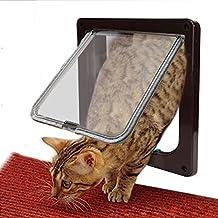 Puerta Gato del Perro, Goodid puerta automática para gatos y perros 4 Modo Pet Door (S, Marrón)