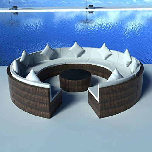 WEILANDEAL Gartensofa Set Ratan synthetisch braun 37 teilig Set aus Edelstahl Dicke der Kissen: 6 cm