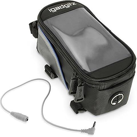 igadgitz Medio Negro Bicicleta Bolsa Frontal Tubo Alforja Resistente al Agua Reflectante con PVC Funda Protectora Transparente para Móvil, iPod, MP3 &