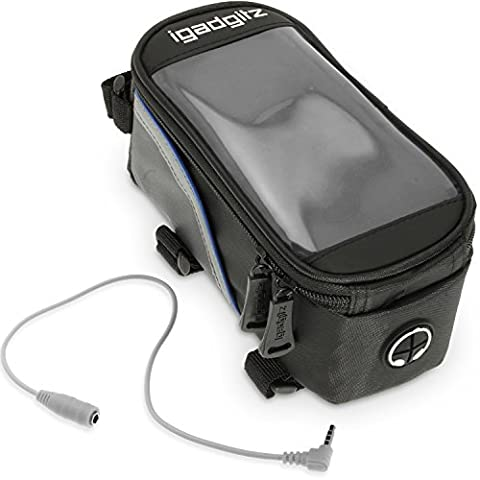 iGadgitz Medium Black Reflective Strip Water Resistant Front Top Tube Pannier Bike Frame Storage Bag with Mobile Phone, iPod, MP3, GPS Holder