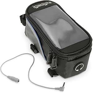 igadgitz Petit Noir Sac Housse Bicyclette Sacoche de Cadre Résistant à l'eau Réfléchissant avec Support Portable, iPod, MP3 et GPS