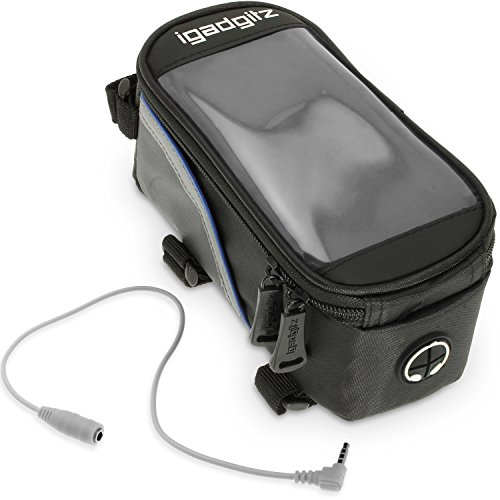 iGadgitz Medium Black Reflective Strip Water Resistant Front Top Tube Pannier Bike Frame Storage Bag with Mobile Phone, iPod, MP3, GPS Holder