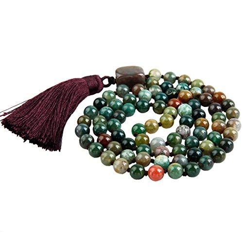 Shanxing 8mm Perles en Pierre Bracelet Collier Chapelet Bouddhiste Mala Tibétain Homme,Femme