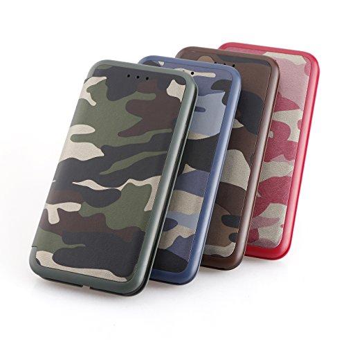 AddGuan iPhone X Case,Clamshell Protezione completa Alta qualità PU+TPU Case Con Funzione di Staffa Adatto Per iPhone X Case (Camouflage Blu) Camouflage Blu