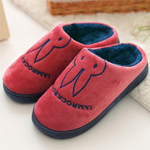 DogHaccd pantofole,Le coppie di pantofole inverno femmina cartoon graziosa piscina anti-slittamento soggiorno pavimenti in caldo spessi di cotone felpato pantofole maschio Il vino è di colore rosso1