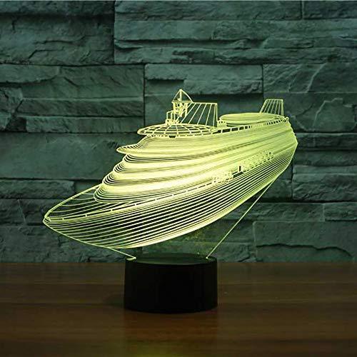 Werewtr 3D Night Light7 Farbwechsel 3D Led Nachtlichter Kreuzfahrt Yacht Modell Schreibtisch Tischlampe Nacht Vision Schiff Boot Schlafzimmer Schlaf Beleuchtung Dekor Vision Boot