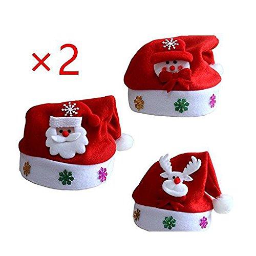 tsmützen Mütze Weihnachten Nikolausmütze Plüsch Red&White (Cartoon) (Flauschige Nikolausmütze)