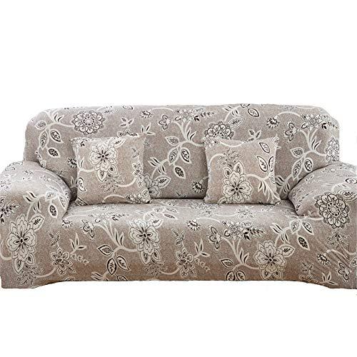 Zyurong - Funda elástica antideslizante de licra para sofá con estampado de flores, protector para mobiliario, poliéster, colorido, 4 seater