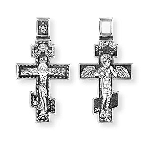 Kreuz Kruzifix Russische Orthodoxe Griechische Sterling Silber Erzengel Saint Michel DM39