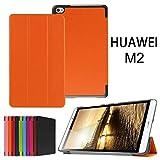 Huawei MediaPad M2 8.0 Case,Xinda Ultra Slim Tri-Fold Leather Case Stand Cover with Auto Wake / Sleep for 8' Huawei MediaPad M2 Tablet PC (M2 8.0 Tri-Fold, orange)