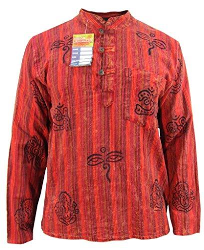 Little Kathmandu Herren Baumwolle Stein Gewaschen Sommer Freizeit Hemd Rot