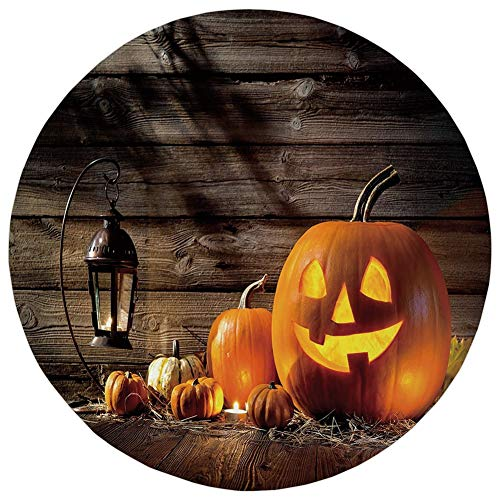 Round Rug Mat Carpet,Halloween,Grinning Expression Pumpkin Country House Squash Bunch on Wooden Planks Image,Brown Orange,Flannel Microfiber Non-slip Soft Absorbent,for Kitchen Floor Bathroom