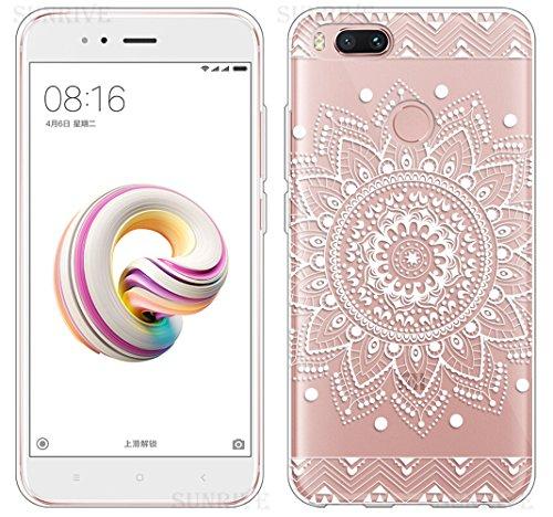 Sunrive Funda para Xiaomi Mi A1, Silicona Funda Slim Fit Gel Transparente Carcasa Case Bumper de Impactos y Anti-Arañazos Espalda Cover(TPU Flor Blanco) + 1 x Lápiz óptico
