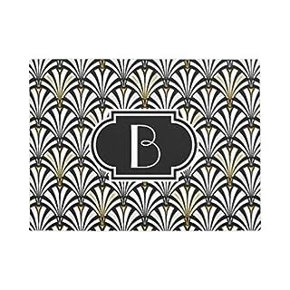Art Deco Fan Muster Schwarz und Weiß rutschfestem Fußmatte Gummi Fußmatten Eingang Way Teppich 60x 40cm