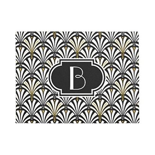 Art Deco Teppiche (Art Deco Fan Muster Schwarz und Weiß rutschfestem Fußmatte Gummi Fußmatten Eingang Way Teppich 60x 40cm)