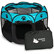 BIGWING Style Pet Play Pen Portable Foldable Puppy Dog Pet Cat Rabbit Guinea Pig Fabric Playpen Crate Cage Kennel Tent (L, Blue)