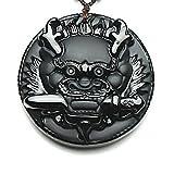 yigedan Colgante de amuleto natural tallado a mano, diseño de perro de espuma, león Kylin