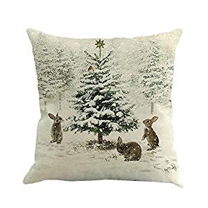 Retro Leinenkissen Quadratisch Weihnachten Sofakissen Dekoration 95Er Herbst Winter Drucken Kissenbezug FüR Dekokissen Sofa Bett Heimtextilien Home Decor Festival Cover Cushion