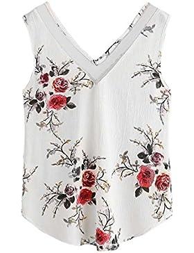 Camisas Mujer Flor de sin Mangas de Cultivo Chaleco Superior Camiseta del Tanque Blusa