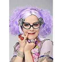 Deluxe Dame Edna estilo corto Curly lila peluca
