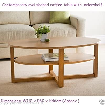 Contemporary Oval Shaped Milton Coffee Table With Undershelf. - cheap UK light shop.
