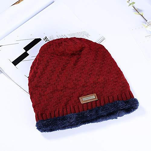 ChildHat 2018 Hut für Kinder,Hut Mütze Wollmütze Herren Mütze warm Monochrom Strick, rot, M (56-58cm)