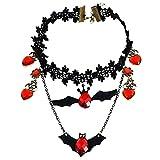 Petalum Halloween Damen Halsband Gotik Schwarz Blumen Wassertropfen Herz Rot Bat Anhänger Vintage Verkleiden Cosplay Handkette (Schwarz)