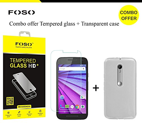 FOSO Motorola ( 3rd Generation Moto G3 ) / ( Moto G Turbo ) Round Curved 9H Hardness Toughened Tempered Glass Screen Protector (2015 Model / Dual SIM Version)